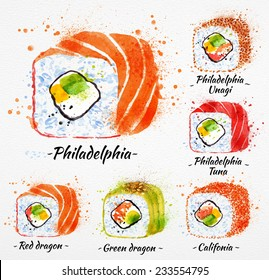 Sushi watercolor set hand drawn with stains and smudges rolls, philadelphia, red and green dragon, califonia.