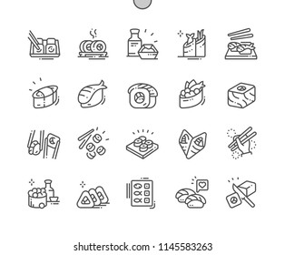 Sushi Well-crafted Pixel Perfect Vector Thin Line Icons 30 2x Grid for Web Graphics and Apps. Simple Minimal Pictogram