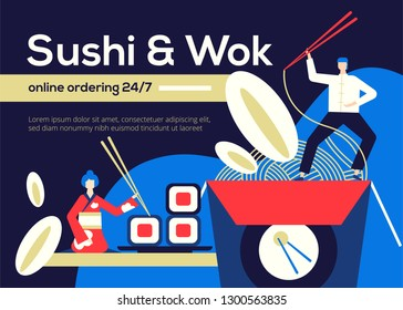 Sushi and Wok - flat design style colorful illustration with copy space for text. Unusual composition with Japanese, Chinese food to order online, rolls, noodles, characters in traditional clothes