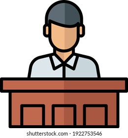 Suspect in courthouse during sentencing concept vector color icon design, Law Firm and Legal institutions symbol on white background, Coutroom Podium Stock illustration