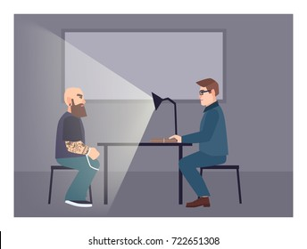 Suspect illuminated by table lamp sitting at desk in front of cop asking him questions. Interrogation process, examination procedure at police station. Flat cartoon characters. Vector illustration.
