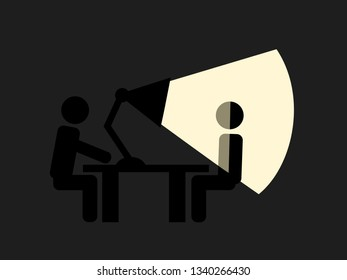 Suspect person is illuminated and lit by light from lamp - interrogation and questioning. Policeman is interrrogating man - discomfort interview. Vector illustration