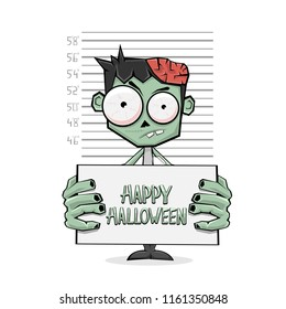 Suspect zombie hold banner with text Happy Halloween and police lineup on white background, illustration.