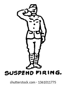 Suspend Firing are held locked and loaded so that they may resume fire at an instant, vintage line drawing or engraving illustration.