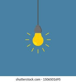 suspended burning light in flat style, vector illustration
