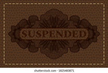 Suspended text inside Linear brown leather realistic badge. Wallet exquisite background. Illustration.