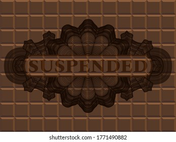 Suspended text inside Linear chocolate badge. Brown fashionable background. Artistic illustration.