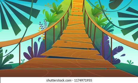 suspension bridge in a jungle cartoon background of summer exotic nature , bright colours funny and happy travel vertical vector illustration