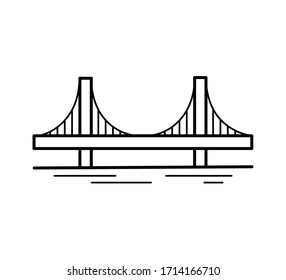Suspension bridge line icon isolated on white background. Urban architecture. Vector illustration.