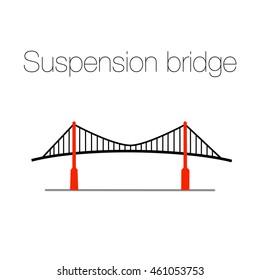 Suspension bridge - vector icon