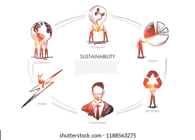 sustainability, economy, society, recycling, CO2-emissing,enviroment concept vector set