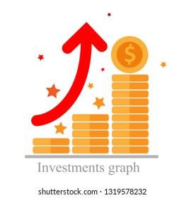Sustainability growth, increased turnover, investments graph, expertise business, future improvements, higher revenue, increase of company sales, future vector concept, arrow high icon flat