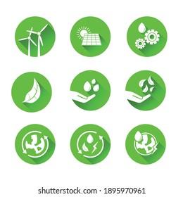 Sustainability icons and symbols set