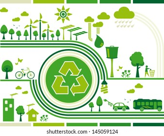 sustainability. Illustration containing several elements of sustainability for a living environmentally friendly and still the center of the symbol recycle.