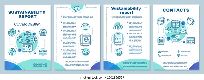 Sustainability report brochure template. Flyer, booklet, leaflet print design. Economic, environmental, social and governance performance. Vector page layouts for magazines, report, advertising poster