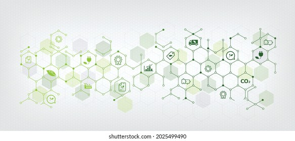 Sustainable business or green business vector illustration background. with connected icon concepts related to environmental protection and sustainability in business and hexagon