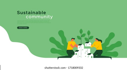 Sustainable community landing web page template with social concept of man and woman building green city together. Environment help or organic teamwork background.