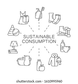 Sustainable consumption concept. Round linear poster. Black illustration. Set of contour isolated vector icons on white background. Motivating responsible banner with clothes, toys, food, home stuffs