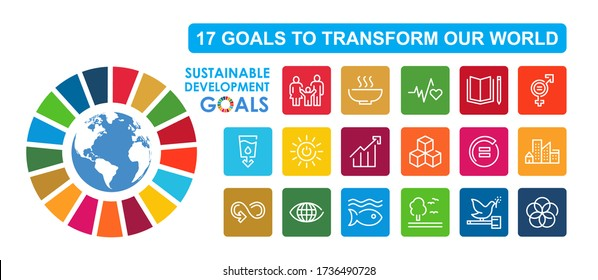Sustainable Development Goals vector illustration. Corporate social responsibility sign. SDG icon. Pictograms for ad, web, mobile app, promo. UI/UX design elements.