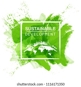 Sustainable development logo with green watercolor paint background, Vector illustration