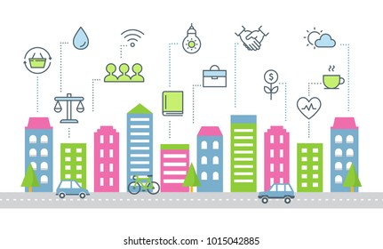 Sustainable Development and Smart City Vector Illustration.