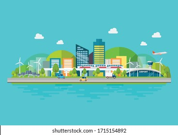Sustainable eco friendly cityscape with Infrastructure and Transportation. Vector illustration