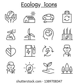 Sustainable Ecology conservation design. Eco friendly icon set design in thin line style