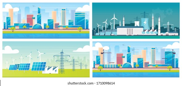 Sustainable energy and architecture flat color vector illustrations set. Eco friendly electric stations and cities 2D cartoon landscapes. Alternative power plants, metropolis and construction site