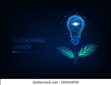 Sustainable energy concept. Futuristic glowing low polygonal flower made of light bulb and green leaves isolated on dark blue background. Modern wireframe design vector illustration.
