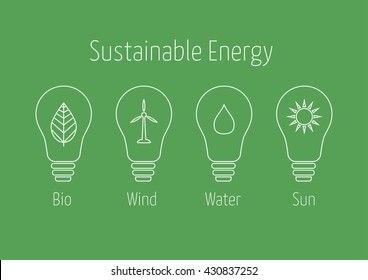 Sustainable Energy icons in light bulbs