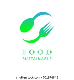 Sustainable food concept. Spoon and fork image isolated on white background. Creative business logotype for restaurant, café, canteen, catering, shop, product. EPS10 vector illustration for eco food.