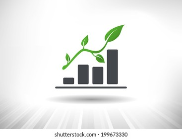 Sustainable Green Growth Icon. Concept showing rising bar chart with green twig with leaves as arrow. Background and graph layered for easy customization. Fully scalable vector illustration.
