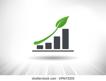 Sustainable Green Growth Icon. Concept showing rising bar chart with green leaf as arrow. Background and graph layered for easy customization. Fully scalable vector illustration.