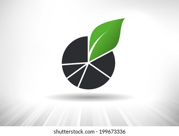 Sustainable Green Growth Icon. Concept showing pie chart with green leaf. Background and graph layered for easy customization. Fully scalable vector illustration.