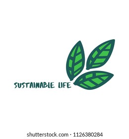 Sustainable Life Text, Abstract Leaves