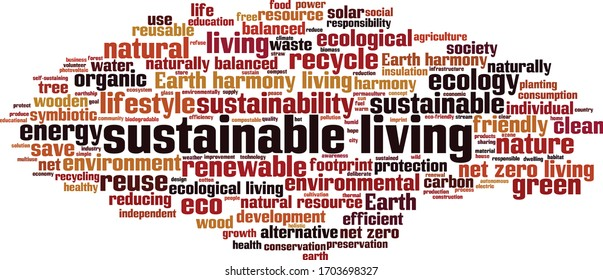 Sustainable living word cloud concept. Collage made of words about sustainable living. Vector illustration