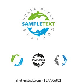 Sustainable seafood or fishing business company vector logo template. Sample text on separate layer. Global colors. Multiple versions.