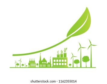 Sustainable Urban Growth in the City,Ecology.Green cities help the world with eco-friendly concept ideas,