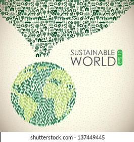 Sustainable world over vintage background vector illustration