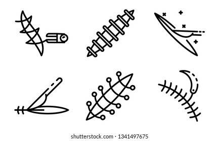 Suture icons set. Outline set of suture vector icons for web design isolated on white background