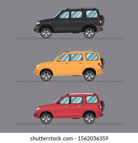 Suv 4x4 car, vector illustration, side view, icon auto, cartoon flat style