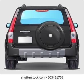 Suv Black Car - Back view