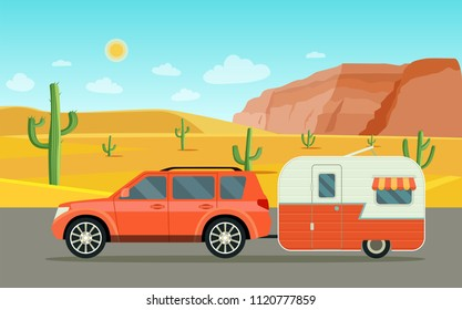 Suv car and camper trailers caravan. Desert landscape. Vector flat style illustration