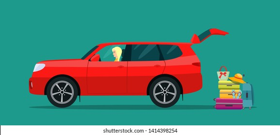 SUV car with driver woman side view. Suitcase, bags and other luggage next to the trunk of the car. Vector flat style illustration.