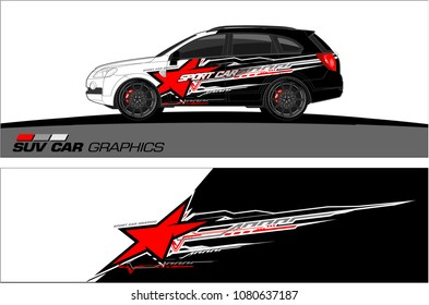SUV Car Graphics vector for vinyl wrap. abstract star with grunge background