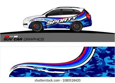 SUV Car Graphics for vinyl wrap. abstract Modern curved shape with grunge background