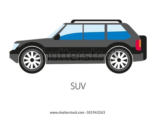 SUV car isolated on white. Vector illustration of sport suburban utility vehicle classified as a light truck, but operated as a family automobile. Equipped with four-wheel drive for off-road ability