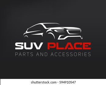 Suv car logo on dark background. Modern suv car. Simple line utility vehicle silhouette.