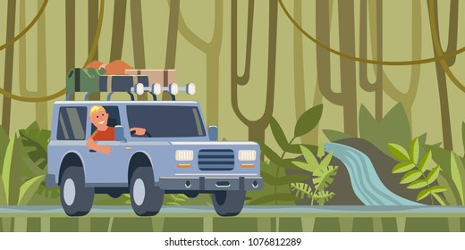 SUV car with luggage on the roof and smiling guy behind the wheel moving through the jungle forest. Off-road vehicle in the tropical forest. Vector illustration. Flat style. Horizontal.