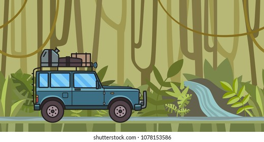 SUV car with luggage on the roof moving through the jungle forest. Off-road vehicle in the tropical forest. Vector illustration. Flat style. Horizontal.
